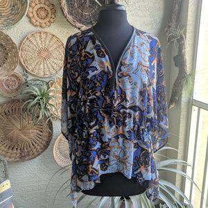 Alberto Makali S sheer boho print poncho tunic top